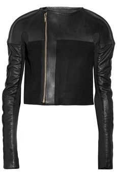 RICK OWENS  Leather and wool-blend jacket
