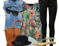 Sommerliches Outfit mit Hut ♥ Hier kaufen: http://stylefru.it/s39614 #Sommeroutfit #Print #Sandalen