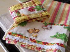 Country Harvest Veggies, decorated towel and cloth for kitchen.