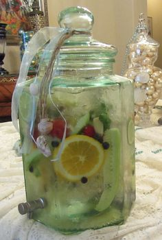 Infused water! Cucumber, berries, citrus slices, cilantro and fresh ginger.
