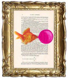 Goldfish with bubblegum- ORIGINAL ARTWORK Hand Painted Mixed Media on 1920 famous Parisien Magazine 'La Petit Illustration'. $10.00, via Etsy.    ...BTW,Please Check this out:  http://artcaffeine.imobileappsys.com