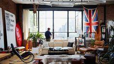 trends decor, bachelor pad, masculin interior, man cave, loft, space, live, room, union jack