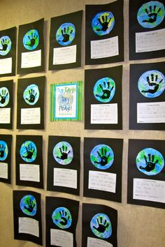 """Earth Day 2013 is Mon., April 22. These Earth Day """"Handprint Globes"""" glued on black construction paper, along with students' creative writing assignments would make a visually stunning Earth Day bulletin board display."""