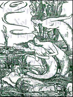 ART NOUVEAU MERMAIDS. Find more Art Nouveau Mermaids Fabric Blocks at www.vintagemermaid.com.