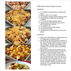 Loaded Baked Potato & Chicken  Casserole - used ham instead of bacon, a little milk instead of cream, half the butter - excellent!