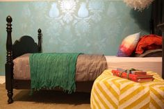 Flash Blue Metallic Paint used to stencil a fun girl's room   Project by Kara Paslay