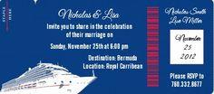 Cruise Ship - Bridal   Wedding Destination Boarding Pass Invitations