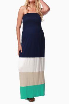Navy-Blue-Taupe-Aqua-Colorblock-Maternity-Maxi-Dress