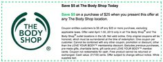 The Body Shop Printable Coupons: $5 off $25 (Printable) - Expires 4/30 shop printabl, the body shop, printabl coupon, bodi shop
