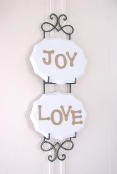 Burlap Letters On Wood Plaques