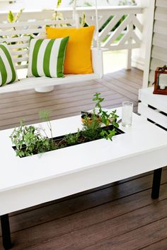 Herb garden coffee table (click to learn how to make it! )