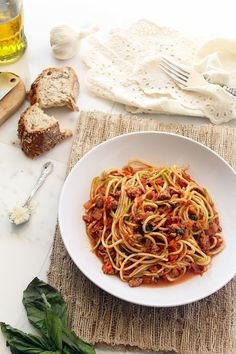 Turkey Bolognese Zucchini Pasta by The Lemon Bowl Sounds yummy.