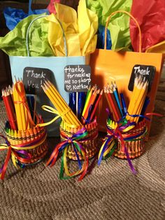 """Teacher appreciation day and week. """" thanks for making me so sharp"""" so easy to make!!! Crayon vase with pencils, colored pencils, pens and sharpies!"""