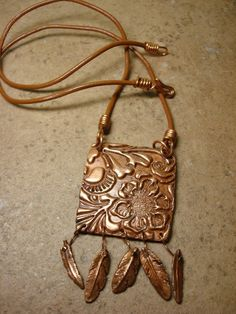 Artisan Copper & Leather Necklace by KayDittleDesigns on Etsy, $40.00