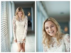 cute -- Short Lace Wedding Dress with Sleeves