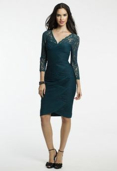 Short Ruched Mesh Dress with Lace Detail from Camille La Vie and Group USA