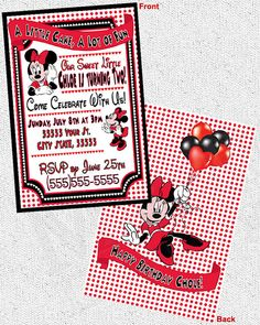 Minnie Mouse Theme Invitations  Digital File by MetroEvents, $6.98