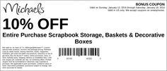 Michaels: 10% off Scrapbook Storage Printable Coupon