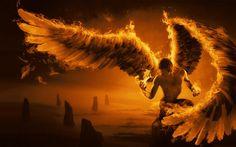 Angel on fire fantasy wallpaper