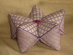 15 Sided Biscornu or Biscostar Purple Blackwork Pincushion by RedCatt on Etsy, £15.99