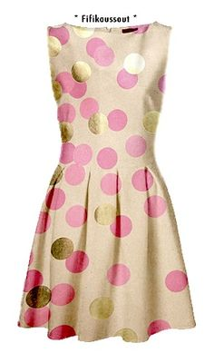 BRÖD polka dot dress in gold, ivory and pink!