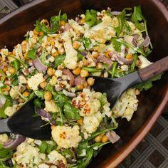 Roasted Cauliflower Salad with Chickpeas, Red Onion, Arugula and a Tahini Dressing