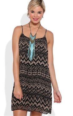 Deb Shops Tribal Print Slip Dress with Open Bar Back $35.00