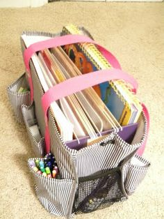 Portable Teacher's Work Bag - wonder where I can get a bag like this? Apparently it's a Thirty One Organizing Utility Bag, around $25. This would be great for all kinds of things including: mobile bill/office bag, knit/crochet bag, and go-bag for the car.