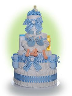Our twin boys 4 tier diaper cake is our offering to celebrate a truly special occasion--the birth of a two boys!   This practical baby gift is sure to please the new parents with goodies ideal for the care of newborn babies. Only $86.00