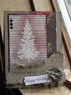 Beautiful Embossed Resist Shabby Christmas Card...