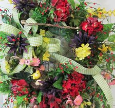 XL Wreaths Such a Richly Colored Door Wreath - Use This One Even Into the Fall Season, by http://www.LadybugWreaths.com, $199.97