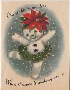 Vintage-Greeting-Card-Christmas-Snowman-Anthropomorphic-M-Cooper-Marjorie-v925