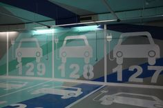 Parking garage graphics in Valencia, Spain.