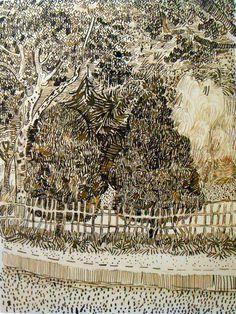 artists, van gogh drawings, yellow houses, the artist, public garden