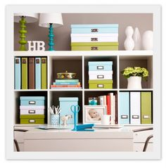 Storage boxes galore! Via See Jane Work