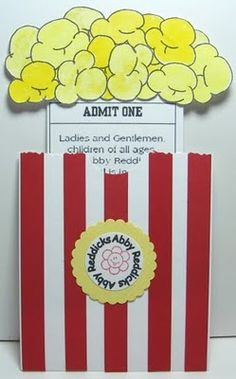popcorn invite for a drive-in movie themed party