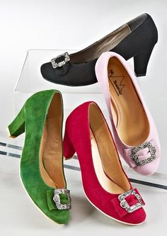 Four hues of lovely Andrea Conti tracht pumps. #shoes #dirndl #German #folk #costume #traditional #tracht
