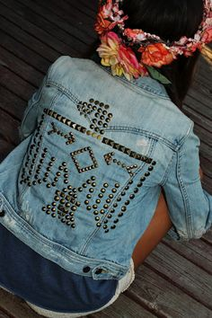 DIY studded denim jacket.