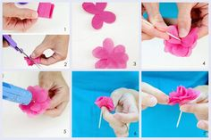 Flores de papel de seda para cupcakes