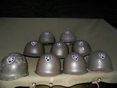 An example of one stencil being used to do multiple helmets by one of our most valued customers! www.warhats.com