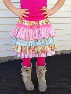 Pink Rose Layered Ruffle Skirt  - Tiered Skirt - Layered Skirt - Girls Ruffled Skirt