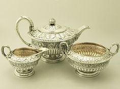 Scottish Sterling Silver Three Piece Tea Service - Antique George IV