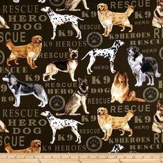 Kanvas Hero Dogs Pedigree Dogs Olive - Discount Designer Fabric - Fabric.com