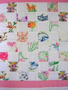 Baby Quilt From Pieces of Vintage Embroidery