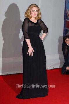 Celebrity Dresses Adele Black Formal Dress BRIT Awards 2012 Red Carpet