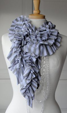 Grey and White BOLD stripe DOUBLE RUFFLE Scarf by FAIRYTALE13, $35.00