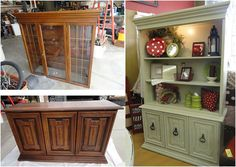 repurposed furniture- spring green hutch