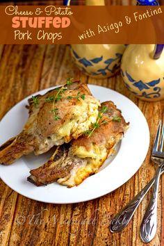 Cheese & Potato Stuffed Pork Chops   bakeatmidnite.com   #porkchops #slowcooker #cheesestuffedporkchops