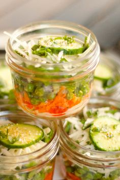 Individual Pea Layered Salad in a Jar from @Sandra Vanderbeck Heyrich | Reluctant Entertainer