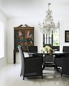dining rooms, design room, design homes, dine room, elle decor, apartment design, outdoor chairs, dining room design, black furniture